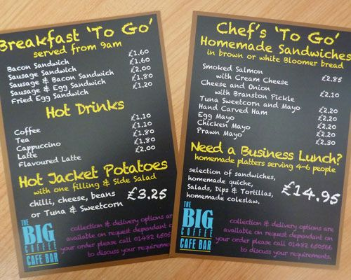 Leaflets printed for a local cafe