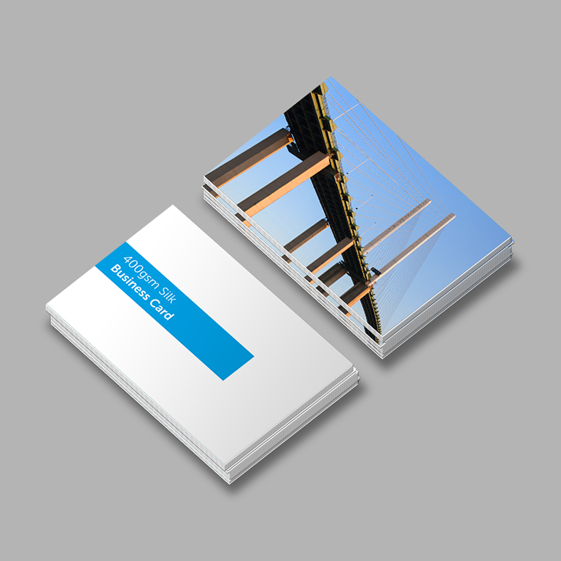 Business card printed on silk card