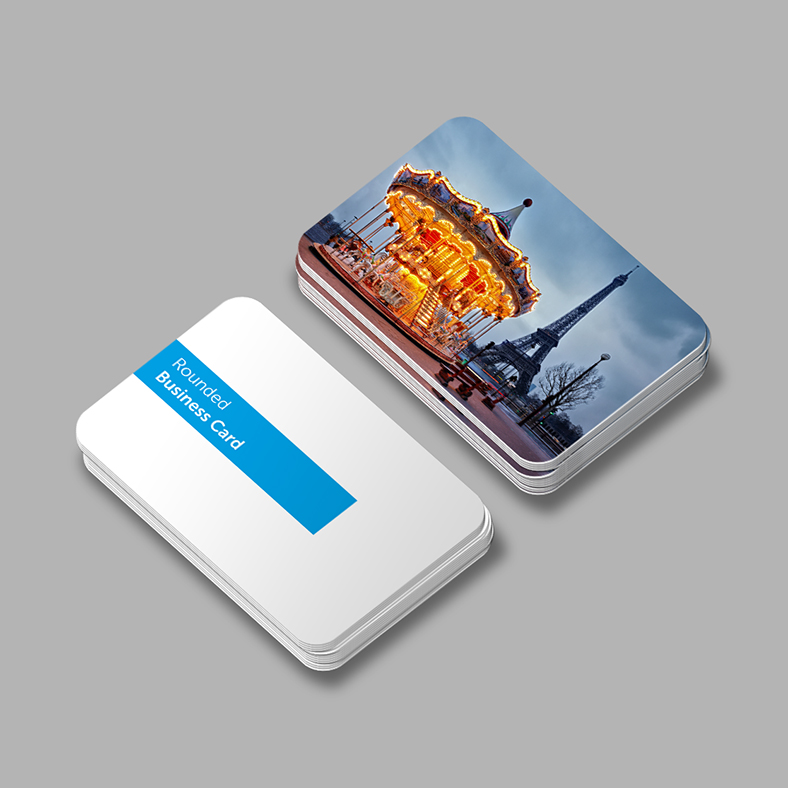 Printed business card with rounded corners