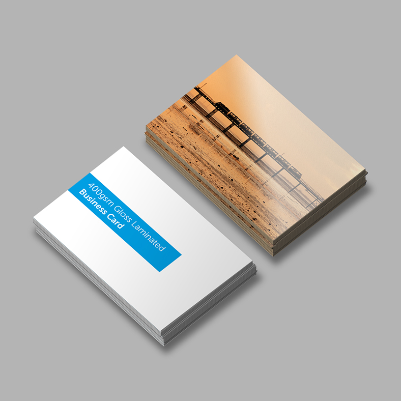 Gloss laminated business that has been printed