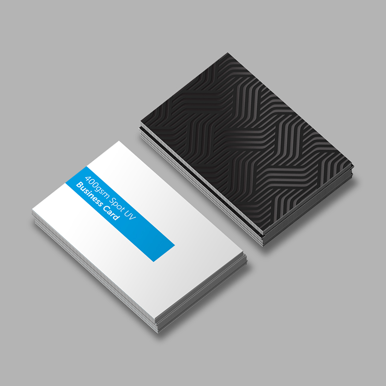 Business card printed with spot uv laminated overlay