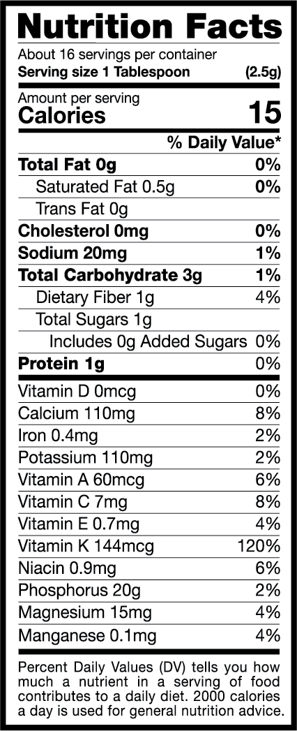 The EasyKale Nutrition Label