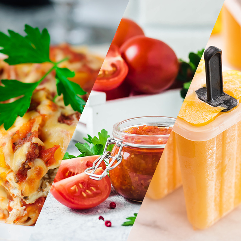 A split image of lasanga, a jar of tomato sauce, and fruit popsicles.