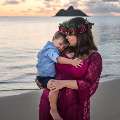 Split photo with Michelle in Hawaii with her son on a beach on the left side, and standing with her husband at sunset on a balcony on the right.