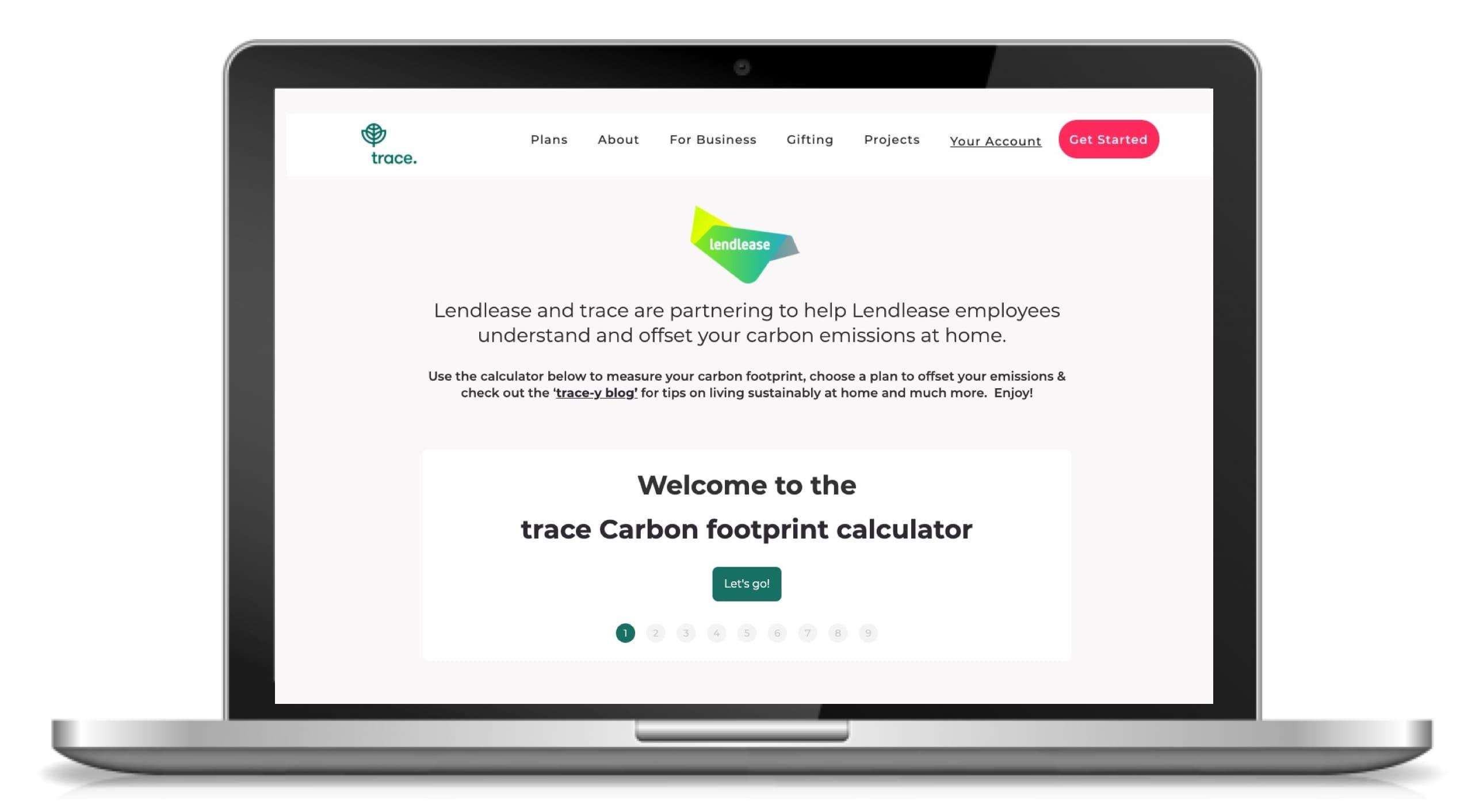 Lendlease carbon calculator landing page