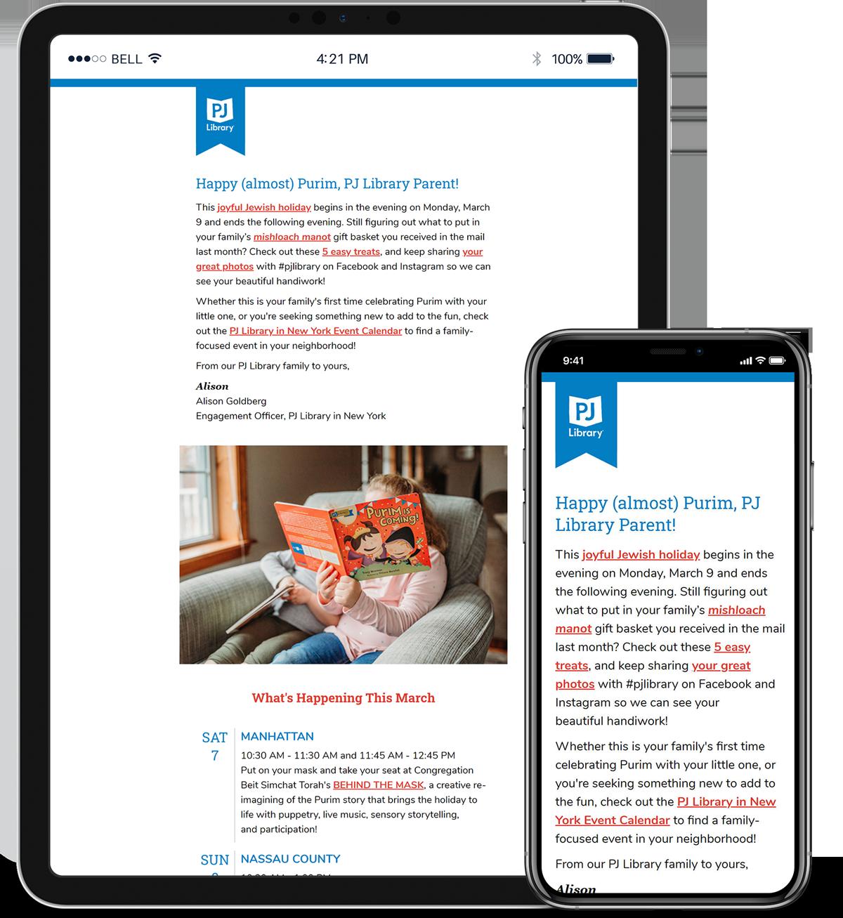 Redesign: PJ Library New York Newsletter Template