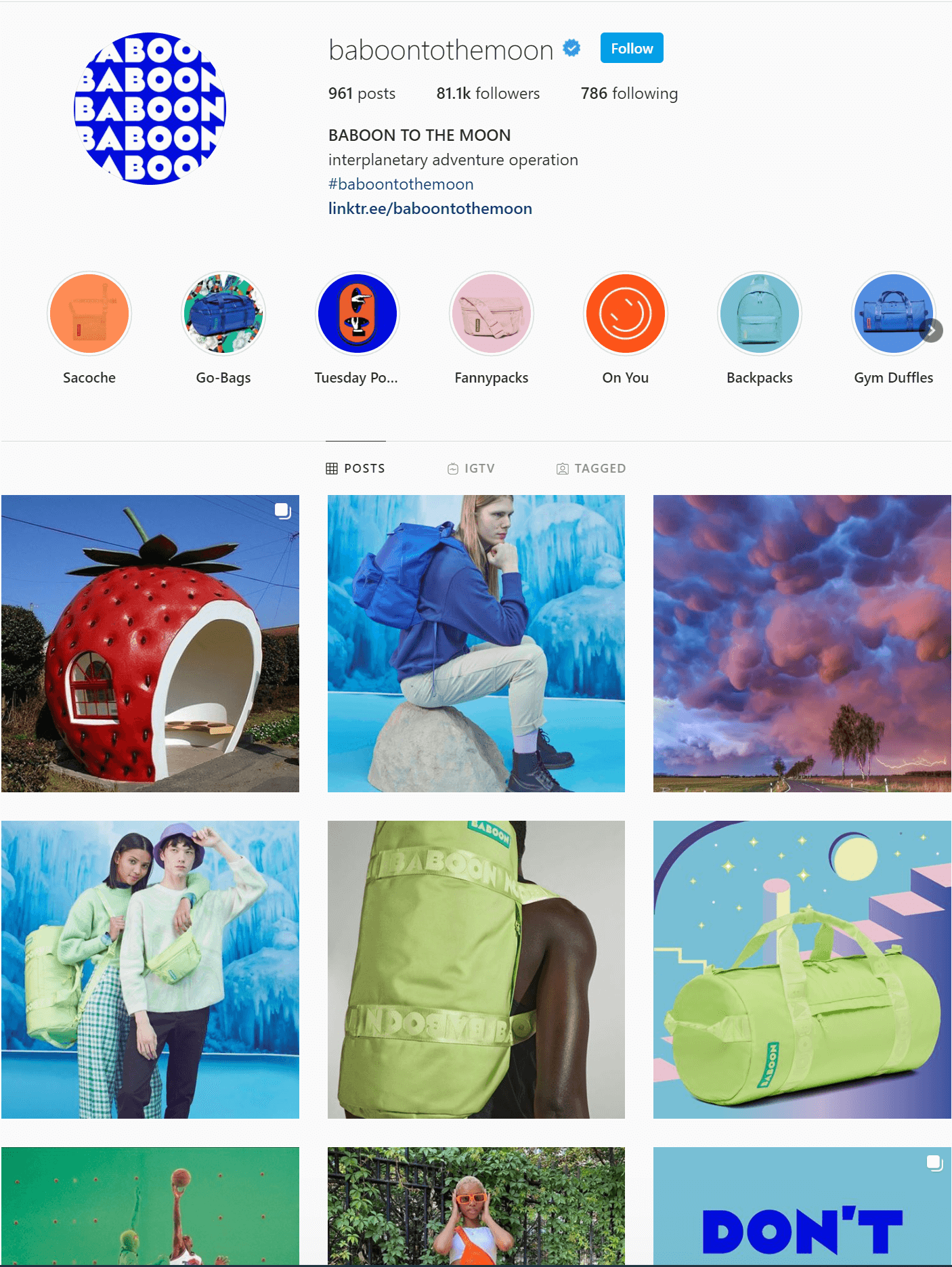 Baboon to the Moon Instagram page. Grid layout featuring people with bags