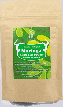 A pouch of pure leaf moringa powder.