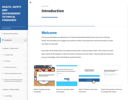 E-learning screenshot