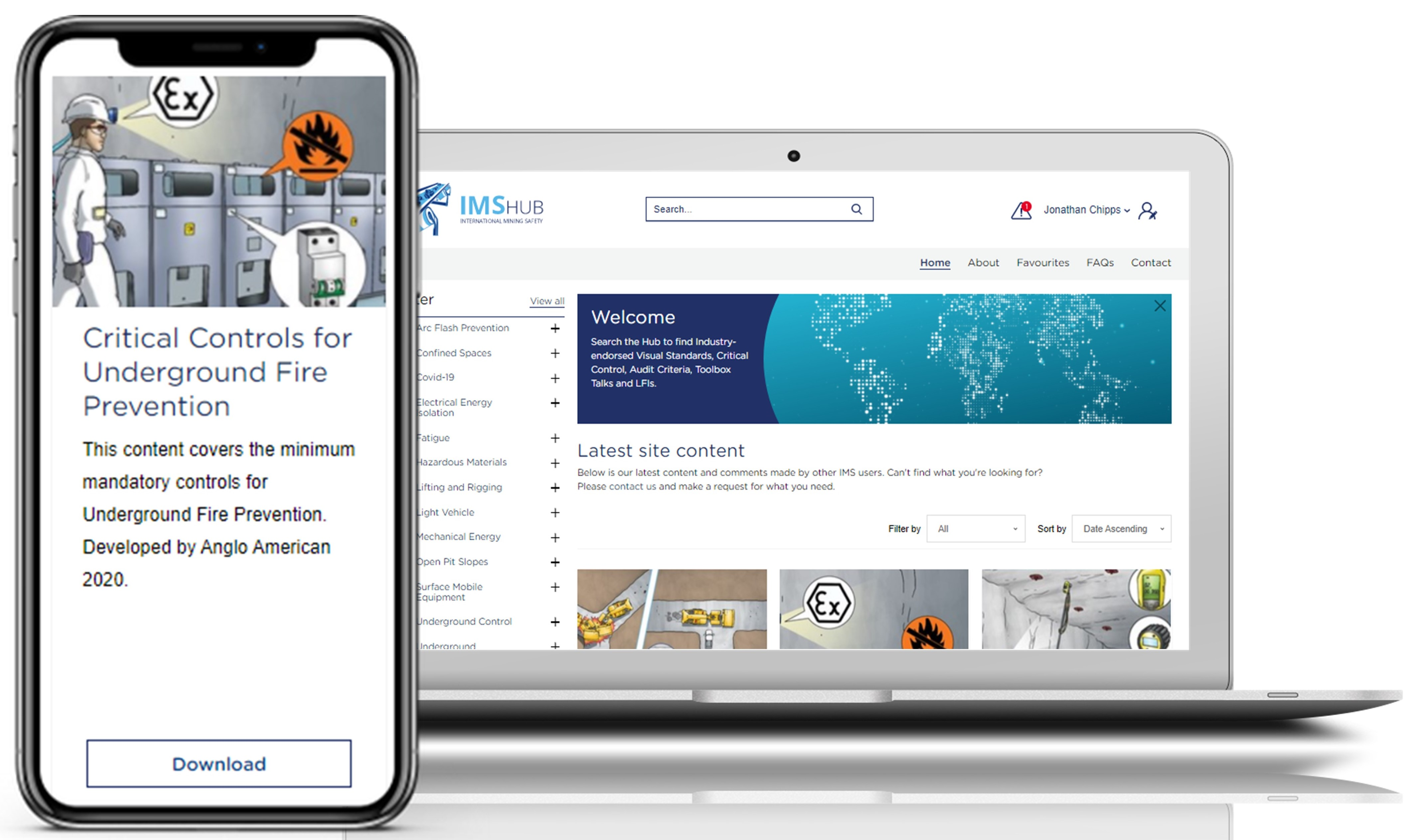 International Mining Safety Hub browser and mobile examples