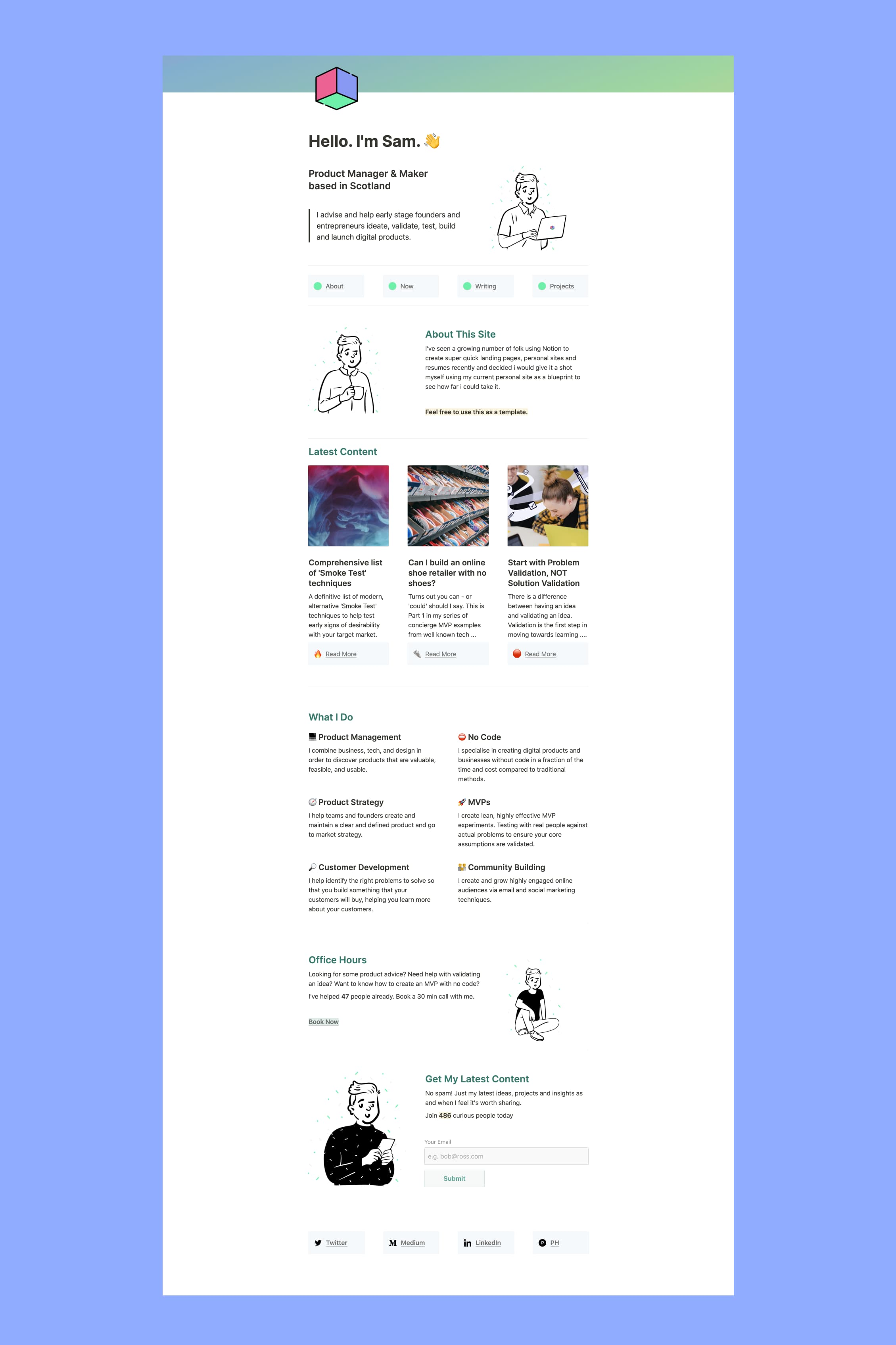 Notion Personal Site Homepage Template