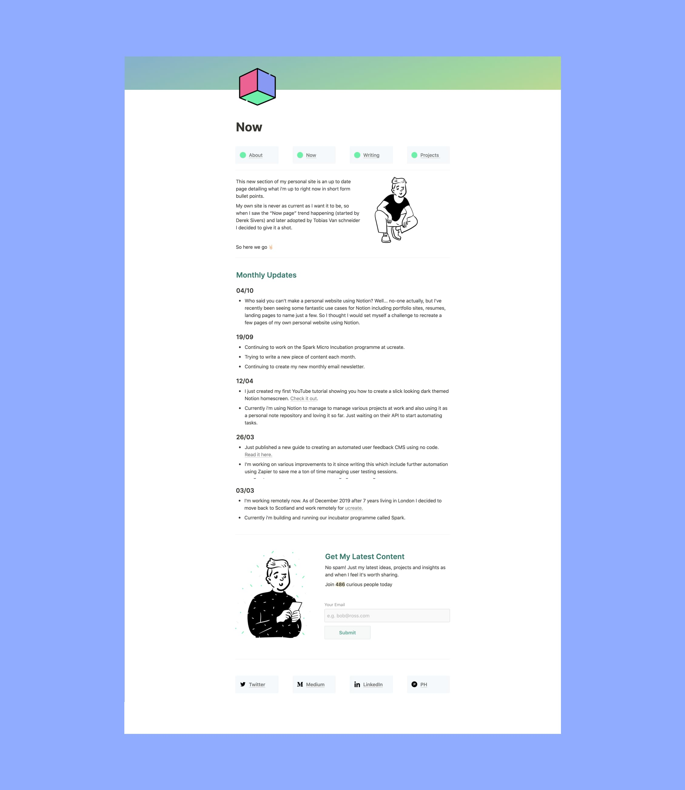 Notion Personal Site About Page Template