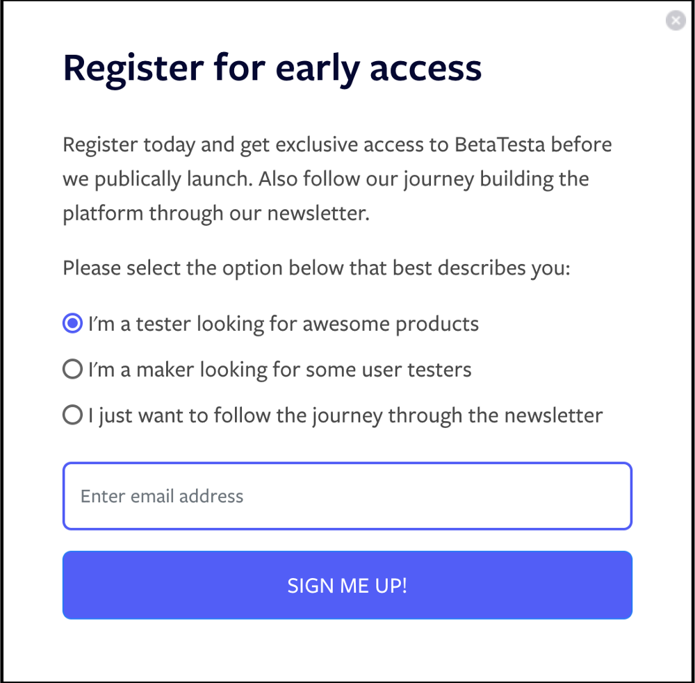 Registration popup BetaTesta