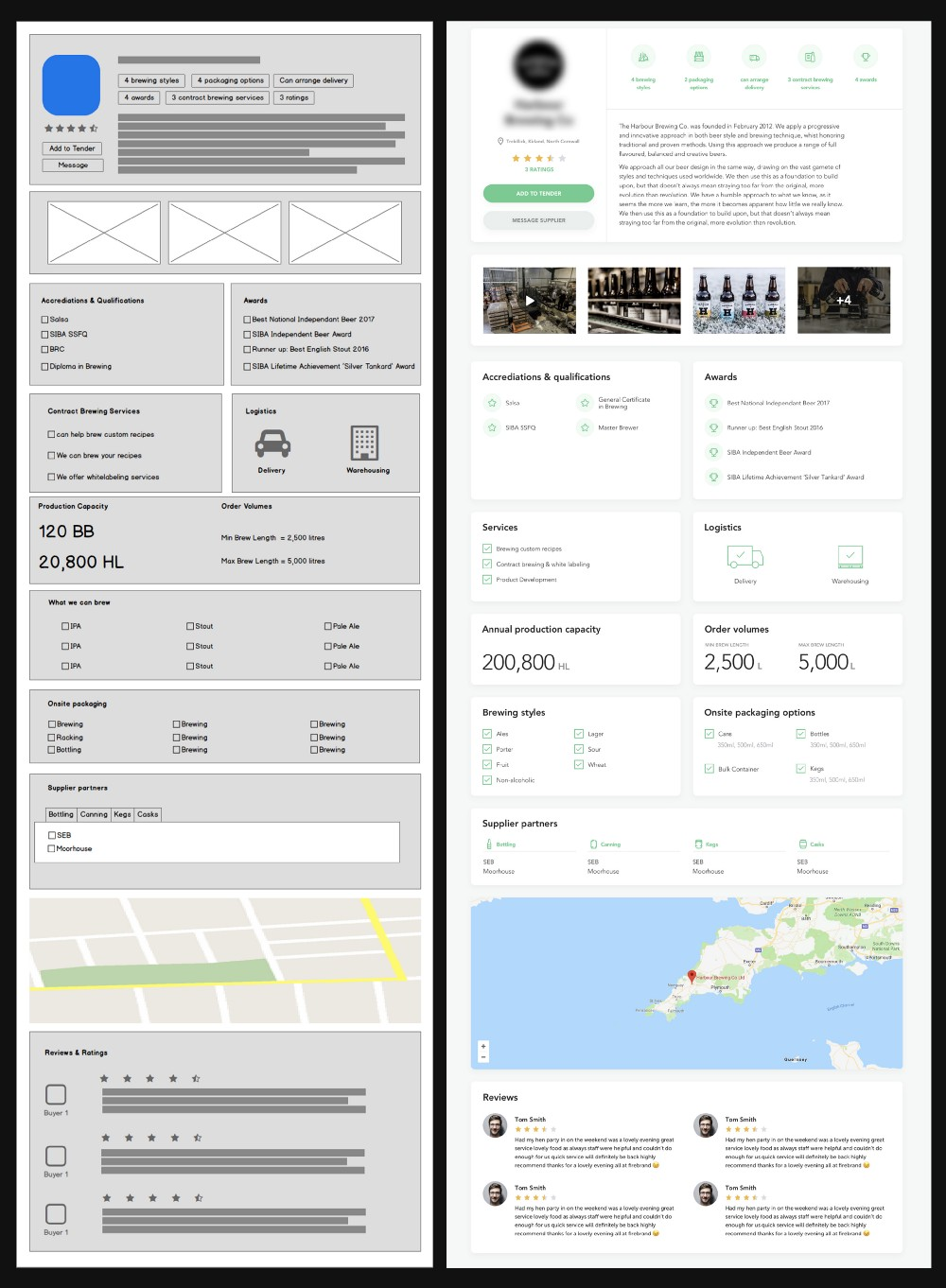 Wireframe to UI design example