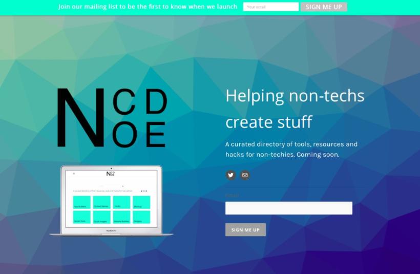 Original NoCode Landing page design