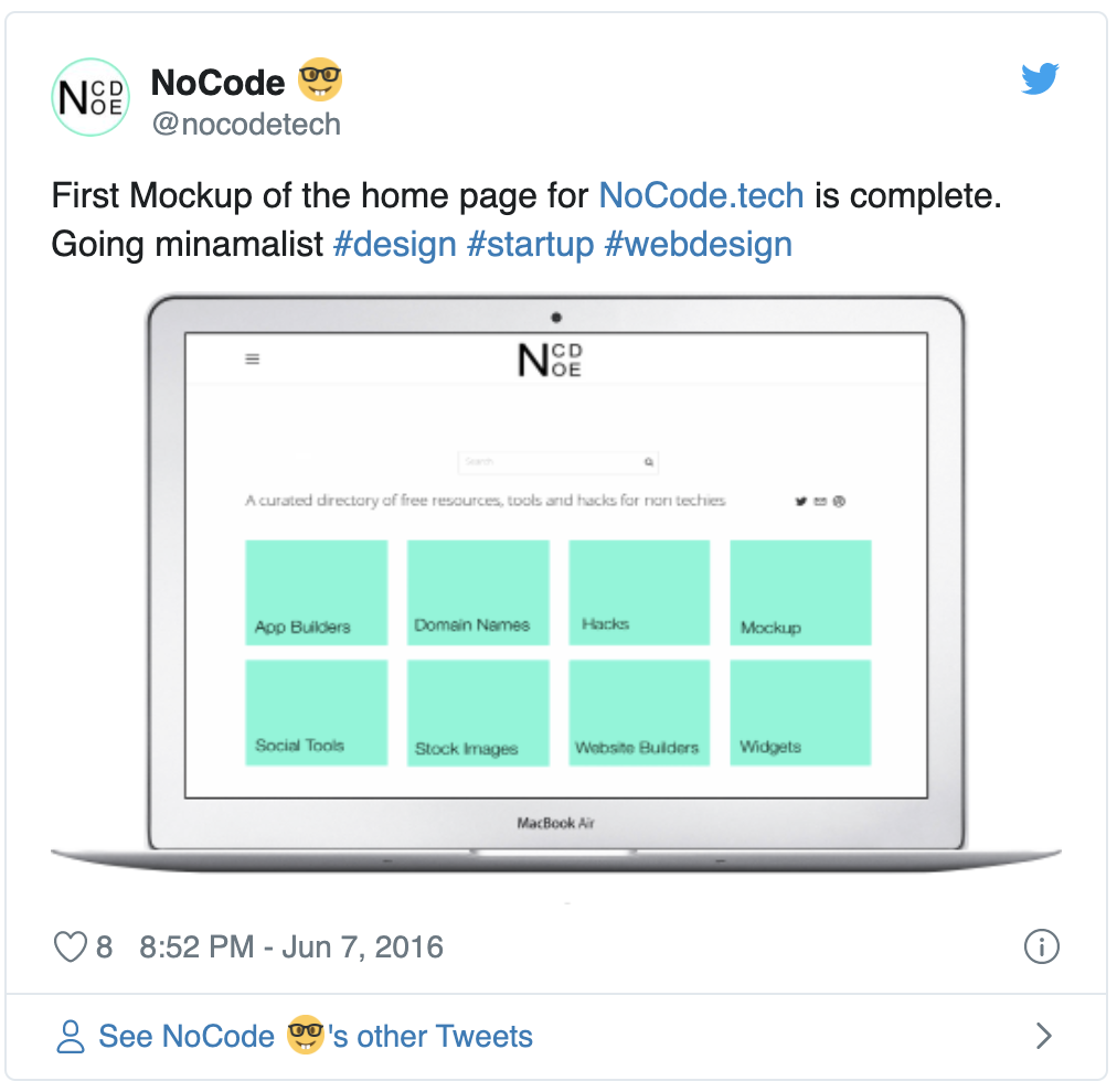 Sharing tweet of nocode for the first time
