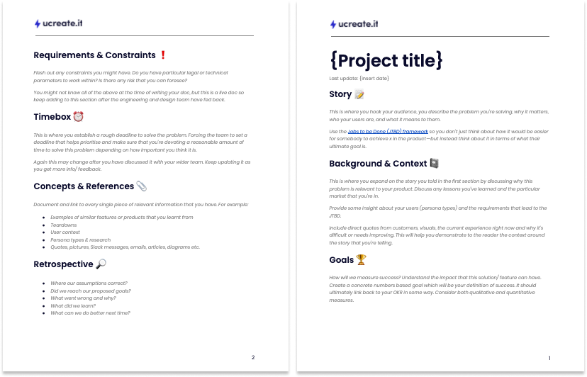 Product Management Brief Two-pager