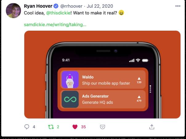 Ryan Hoover Tweet