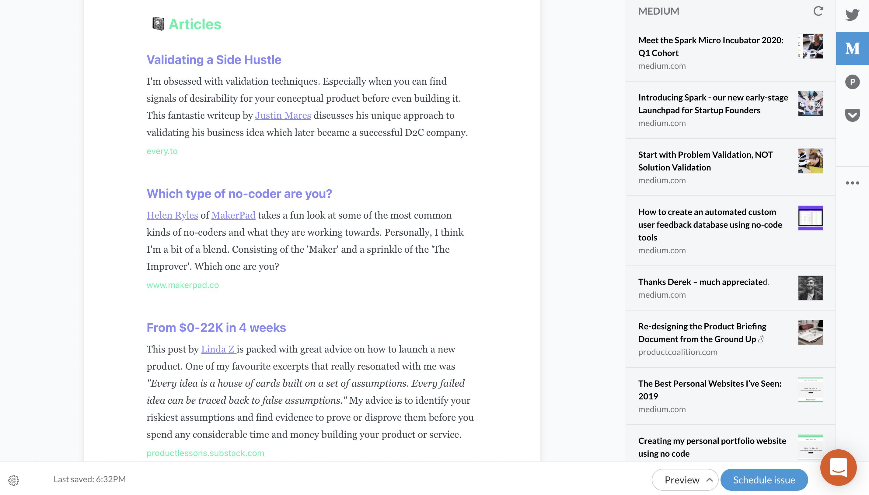 Revue email newsletter dashboard