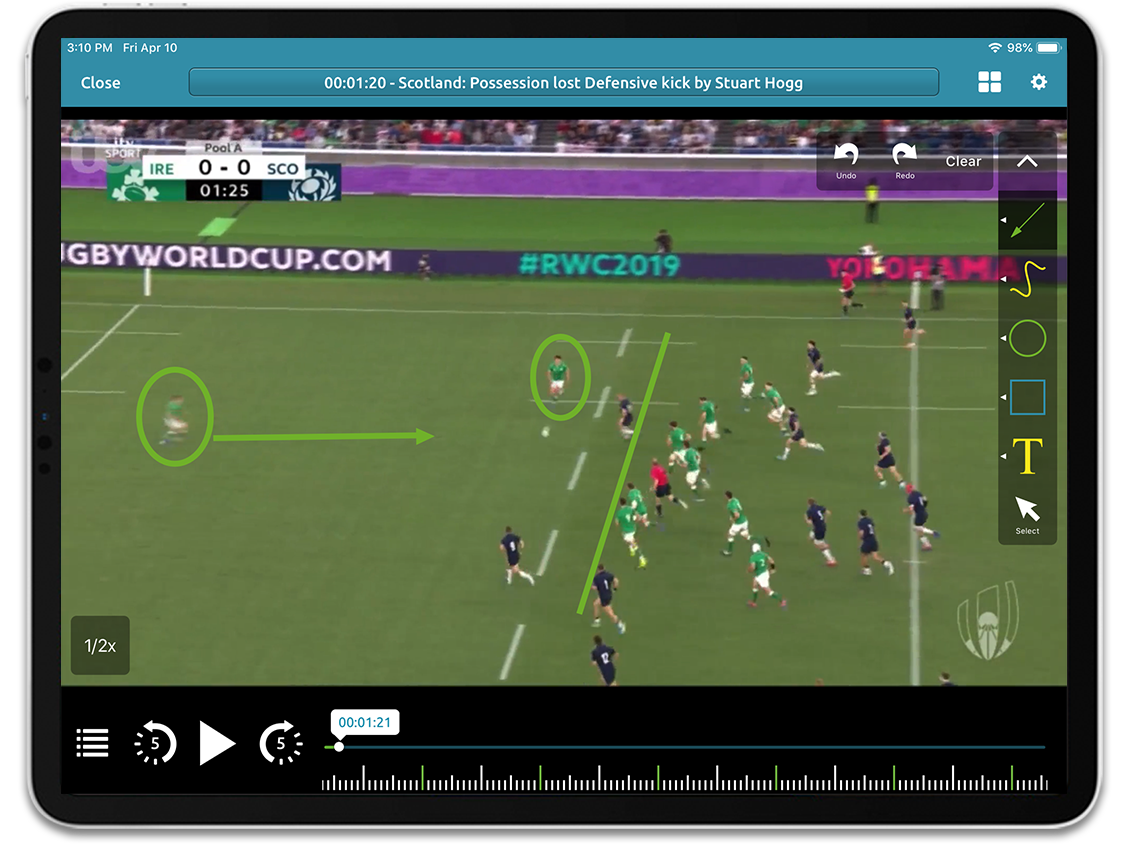 Rugby video analysis on Performa Sports iPad app
