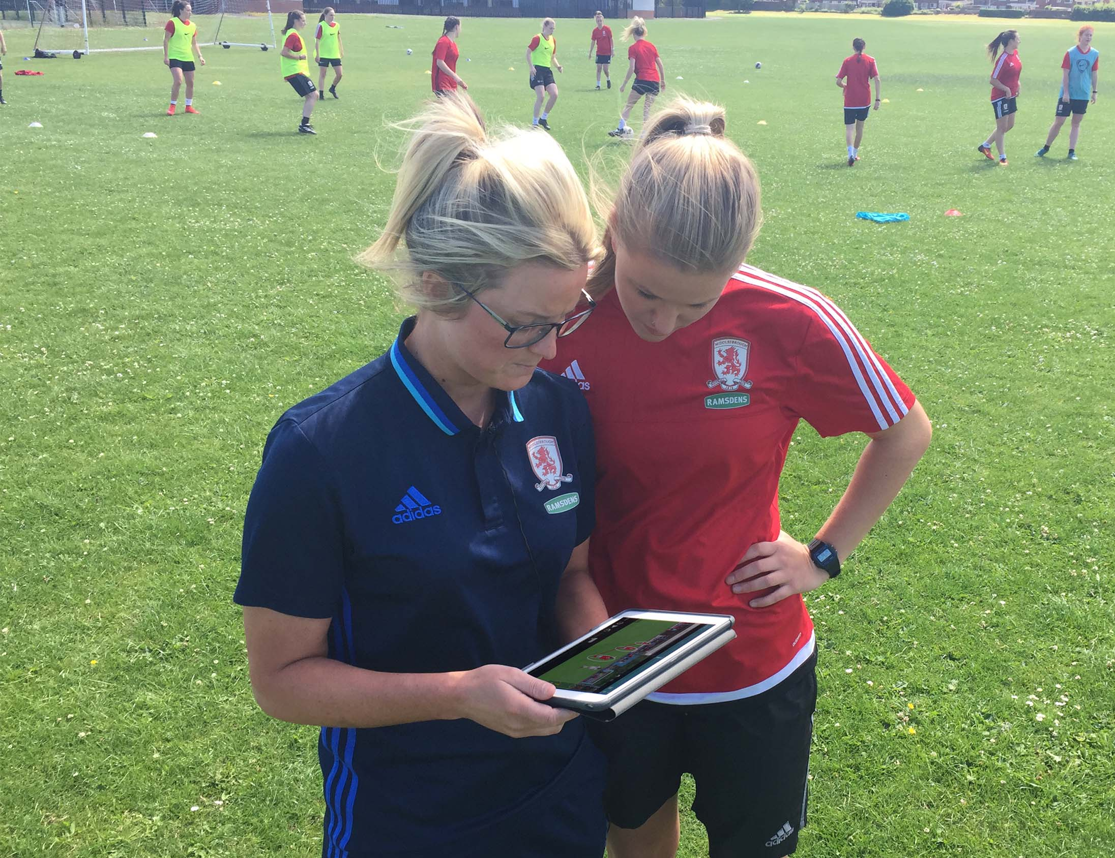 Visual coaching at football training using Performa Sports iPad app
