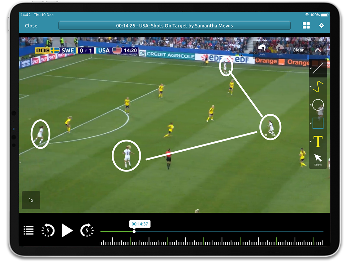 Women's Soccer video analysis on Performa Sports iPad app