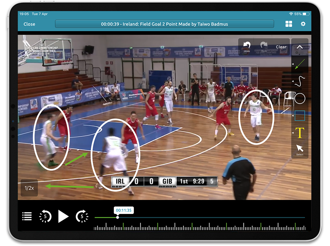 Basketball video analysis on Performa Sports iPad app