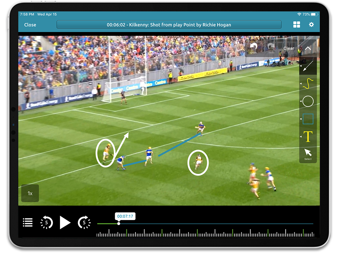 Hurling video analysis on Performa Sports iPad app