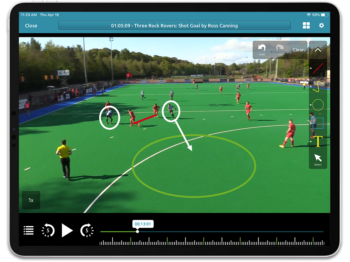 Hockey video analysis on Performa Sports iPad app