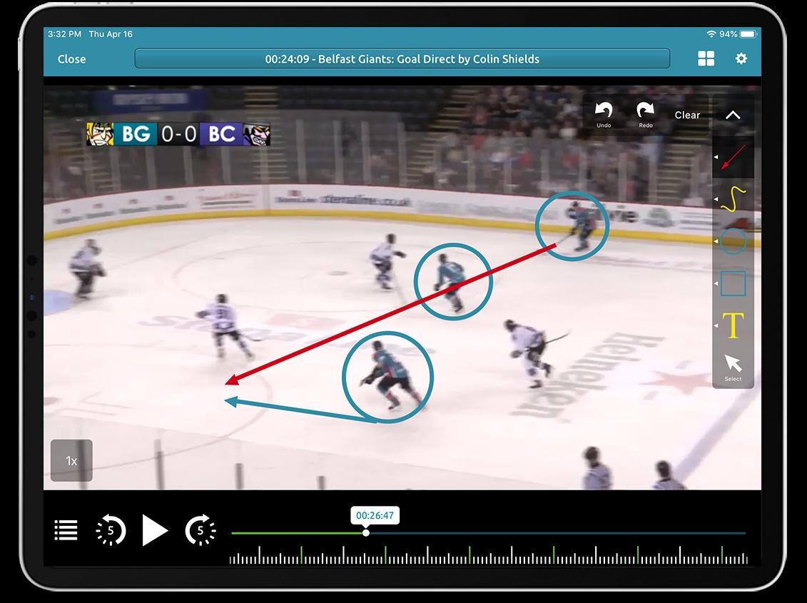 Ice Hockey video analysis on Performa Sports iPad app