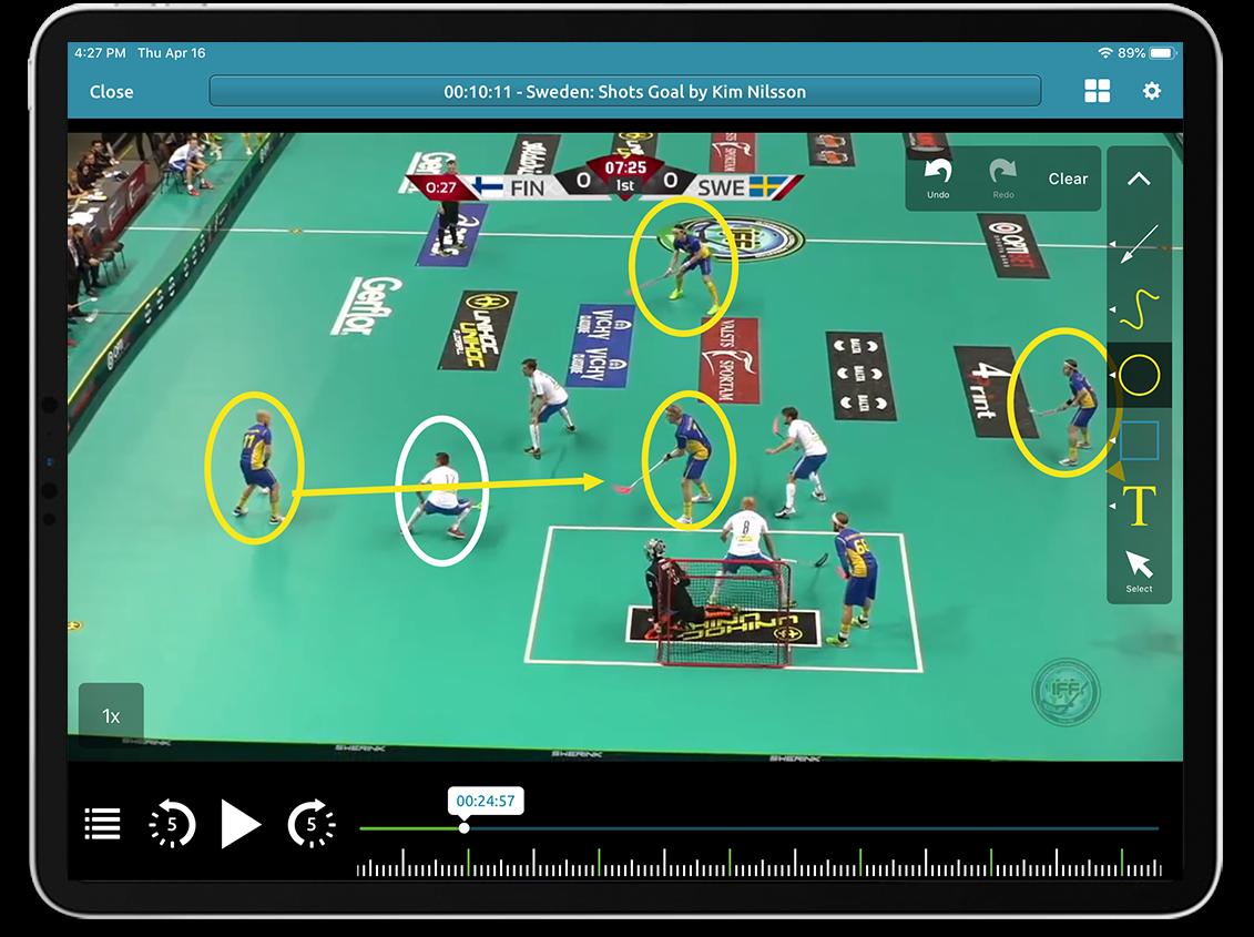 Floorball video analysis on Performa Sports iPad app
