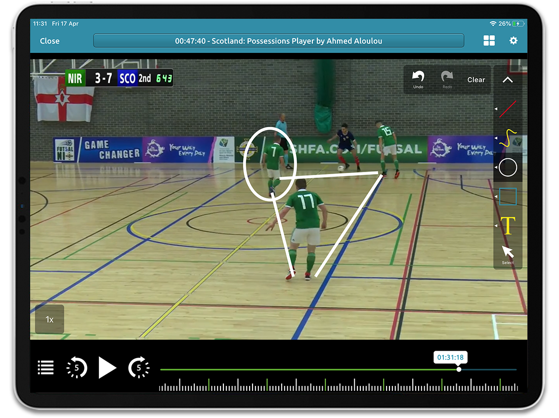 Futsal video analysis on Performa Sports iPad app