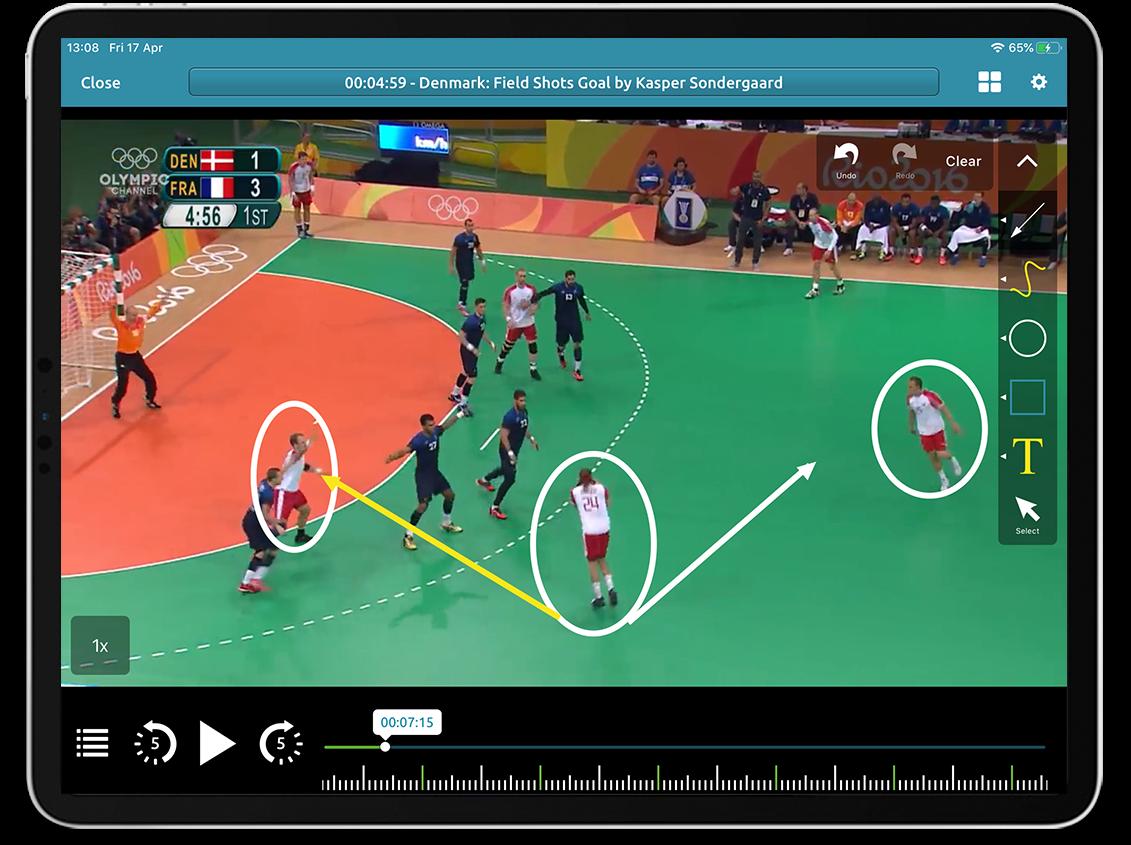 Handball video analysis on Performa Sports iPad app