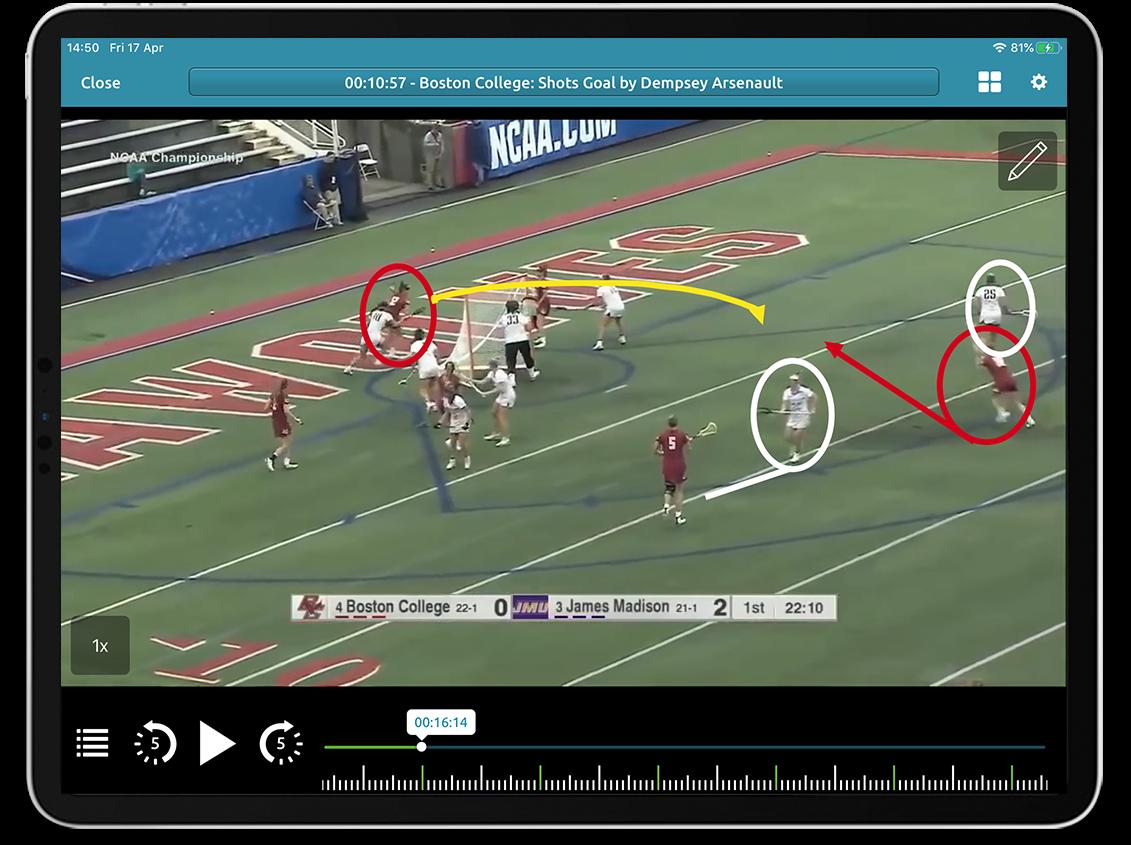 Lacrosse video analysis on Performa Sports iPad app