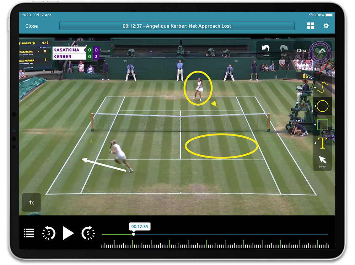 Tennis video analysis on Performa Sports iPad app