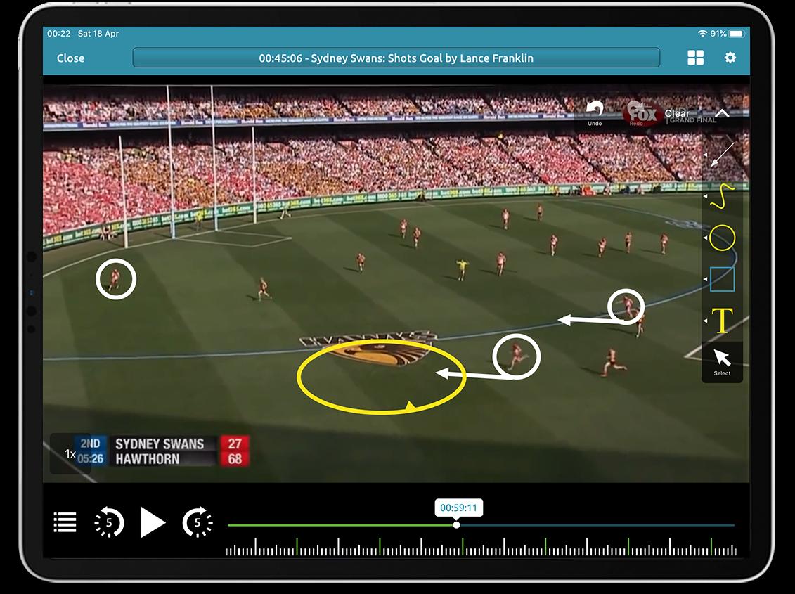 Australian Rules Football video analysis on Performa Sports iPad app