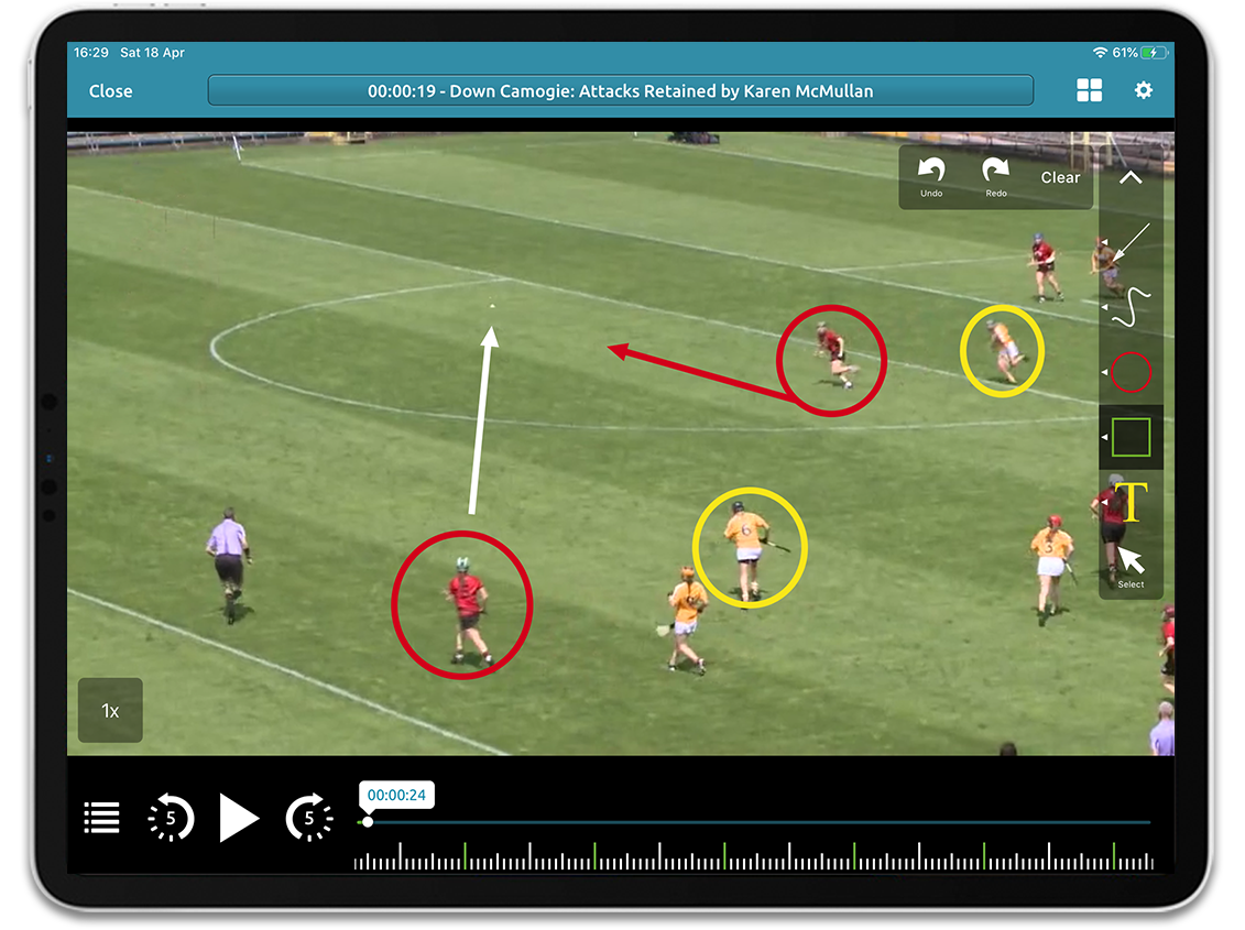 Camogie video analysis on Performa Sports iPad app