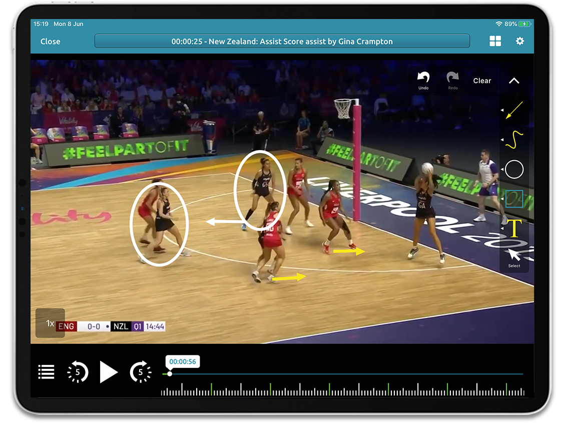 Netball video analysis on Performa Sports iPad app