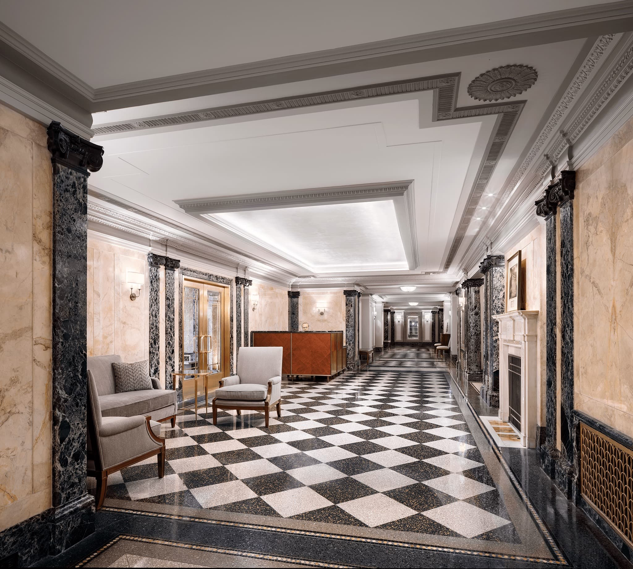 Central Park West lobby with checkered floor tiles.