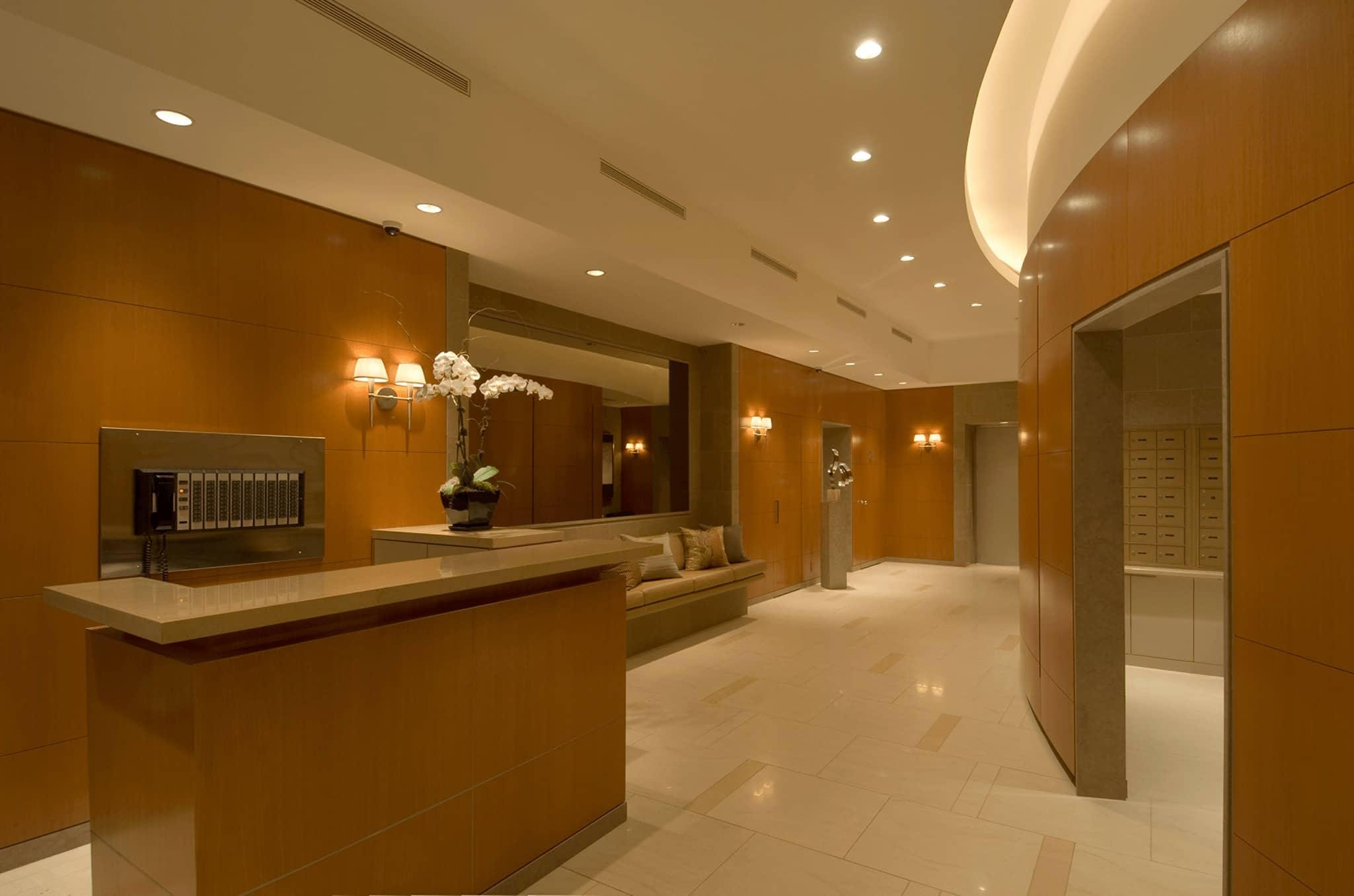Modern lobby at 301 East 63rd Street.
