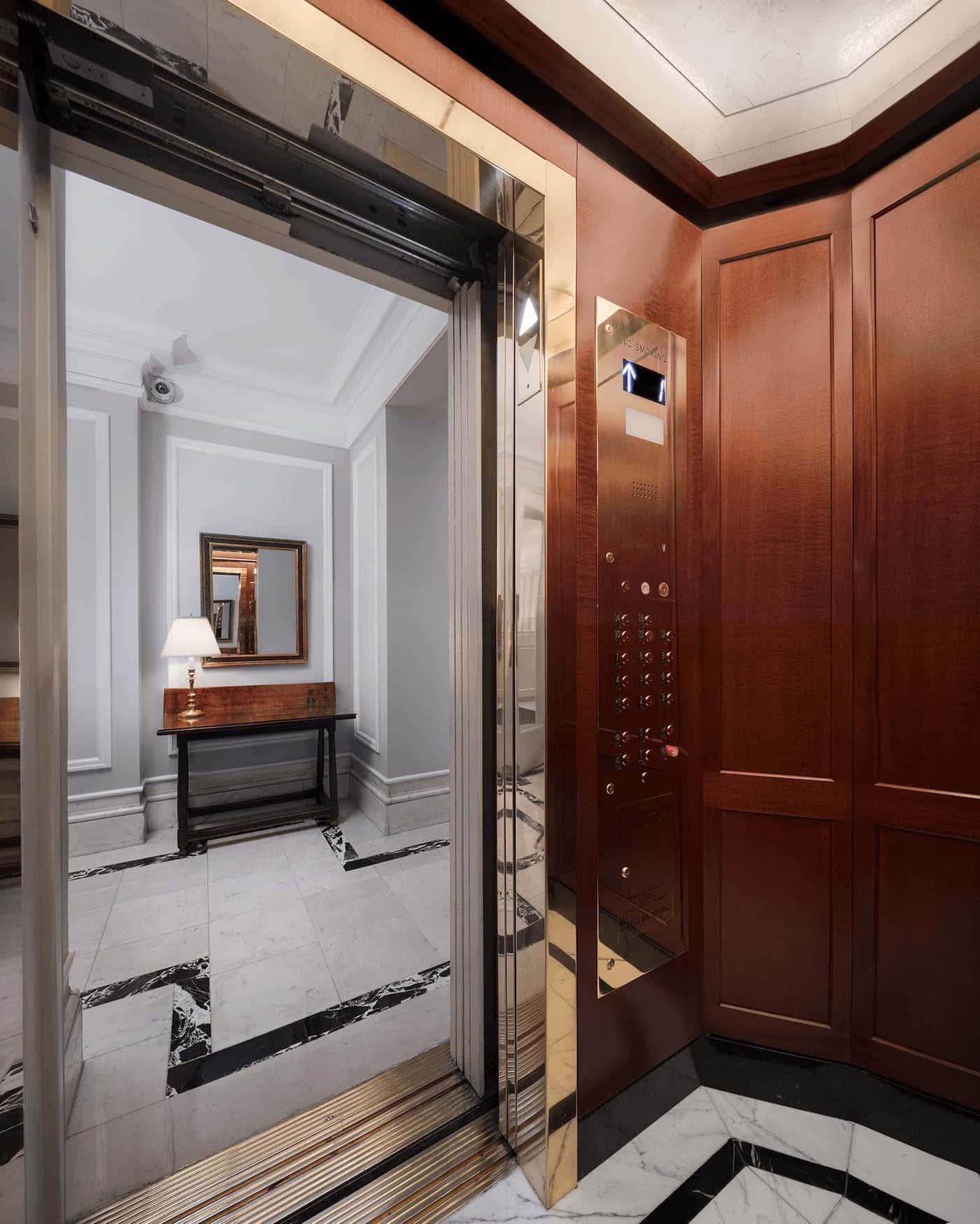 Inside of elevator at 815 Park Avenue.