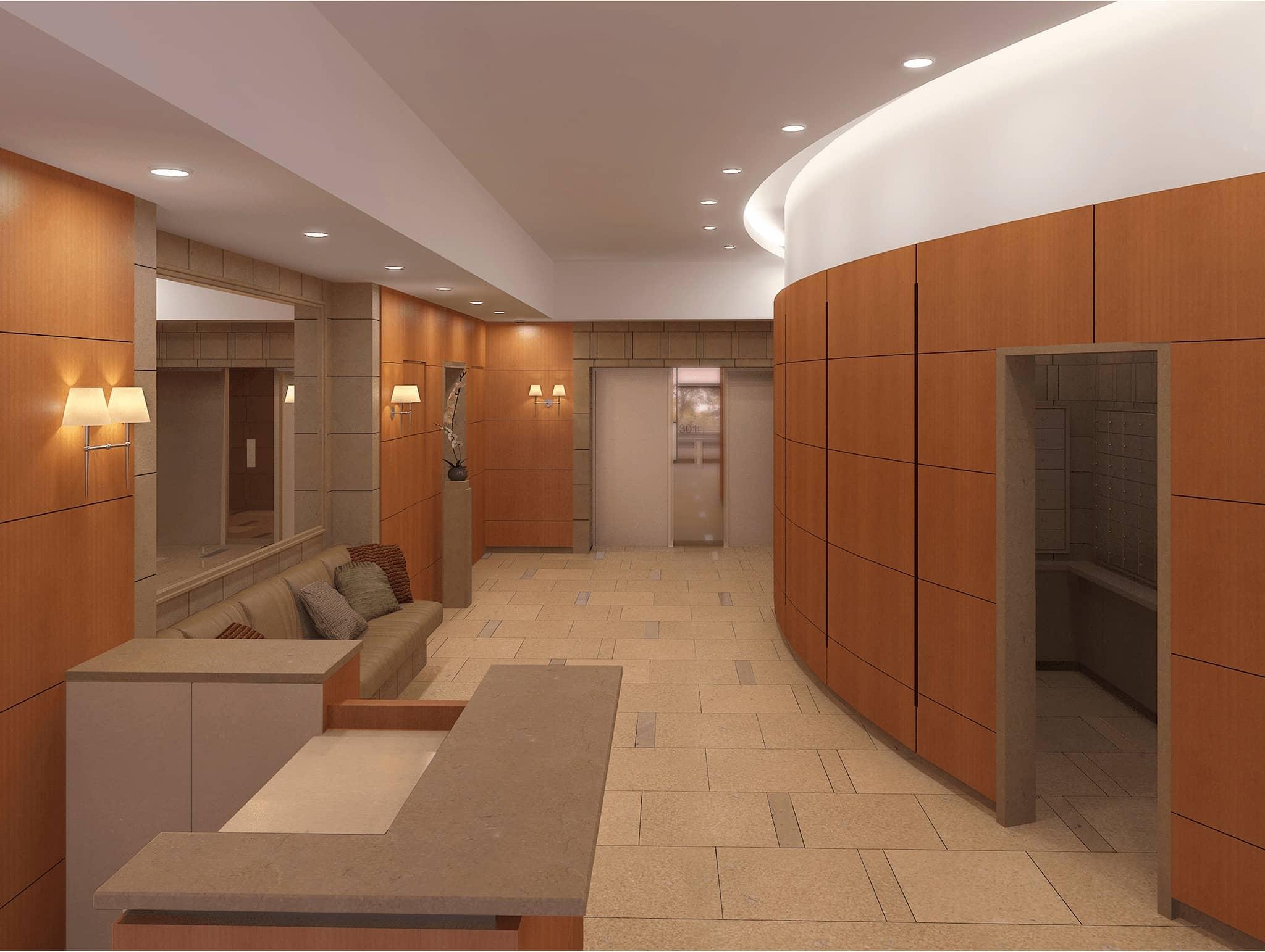 3D rendering of lobby.