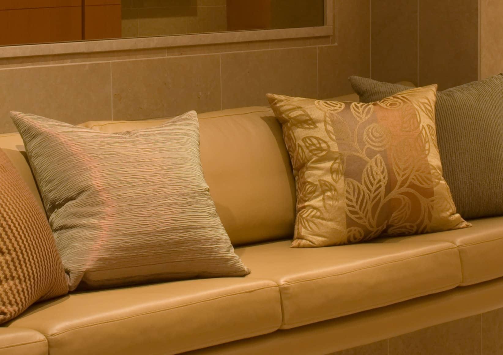 Close-up photo of leather sofa.