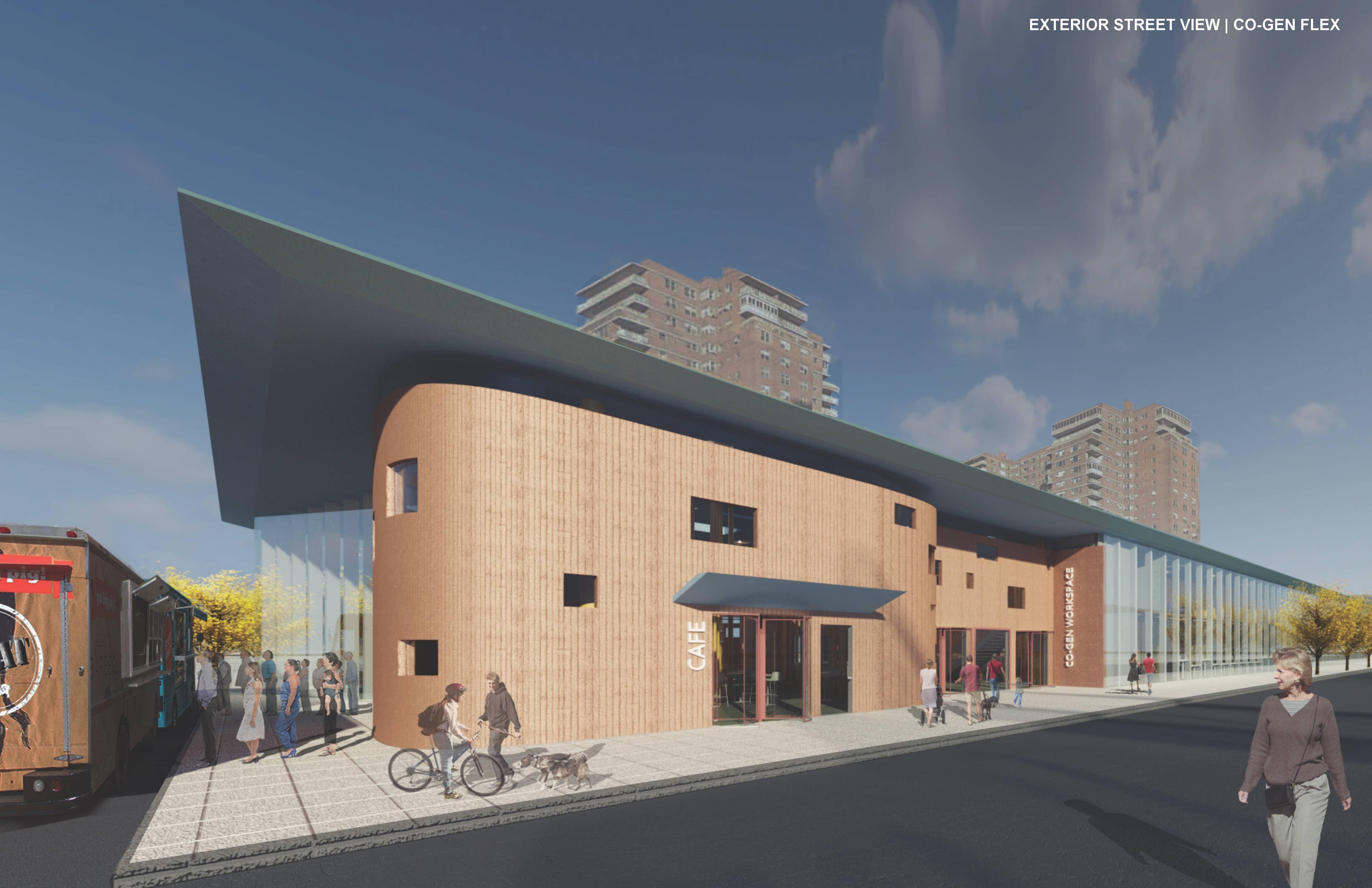 Exterior rendering of retail building.