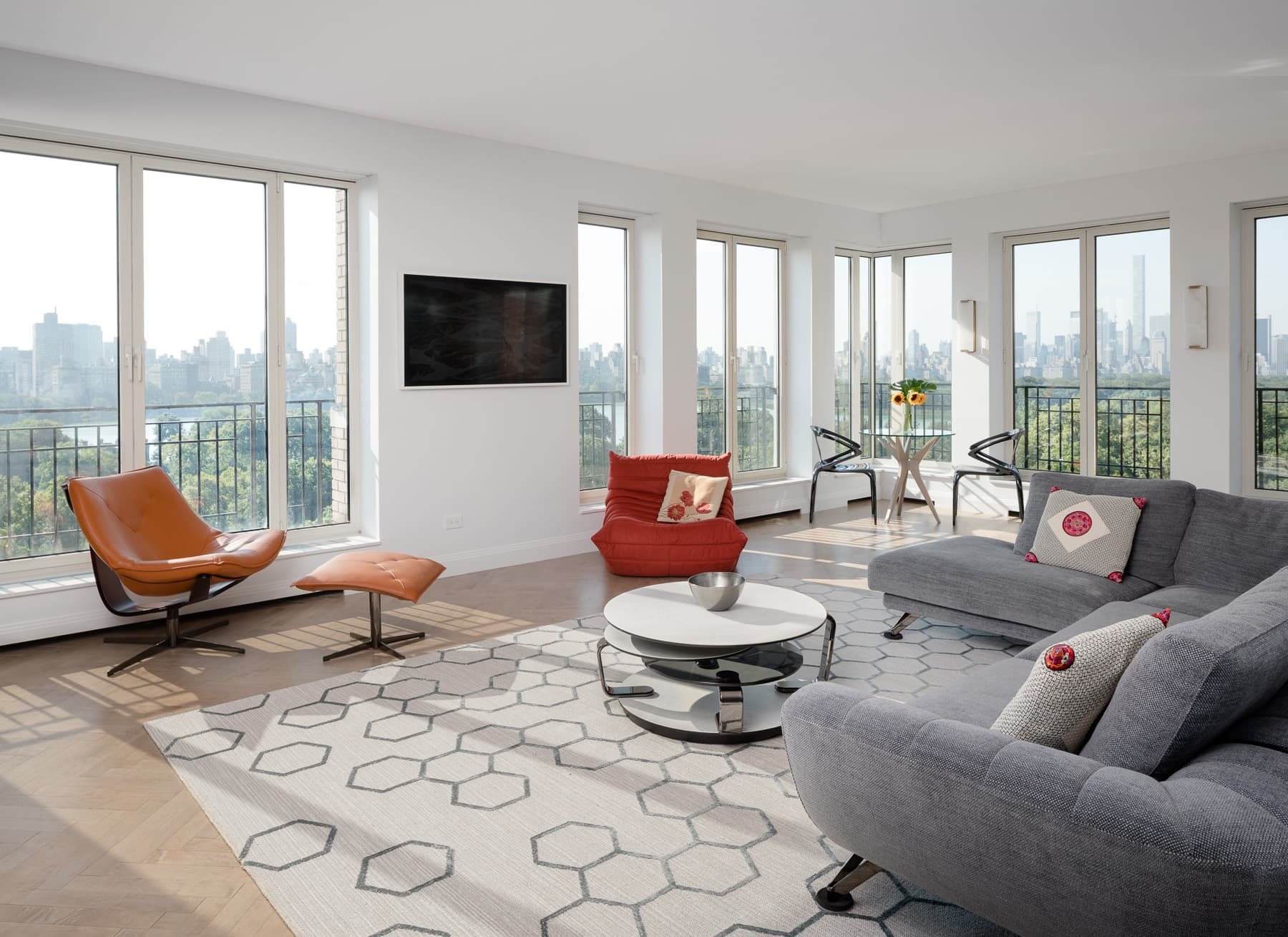 High-rise apartment overlooking Central Park.