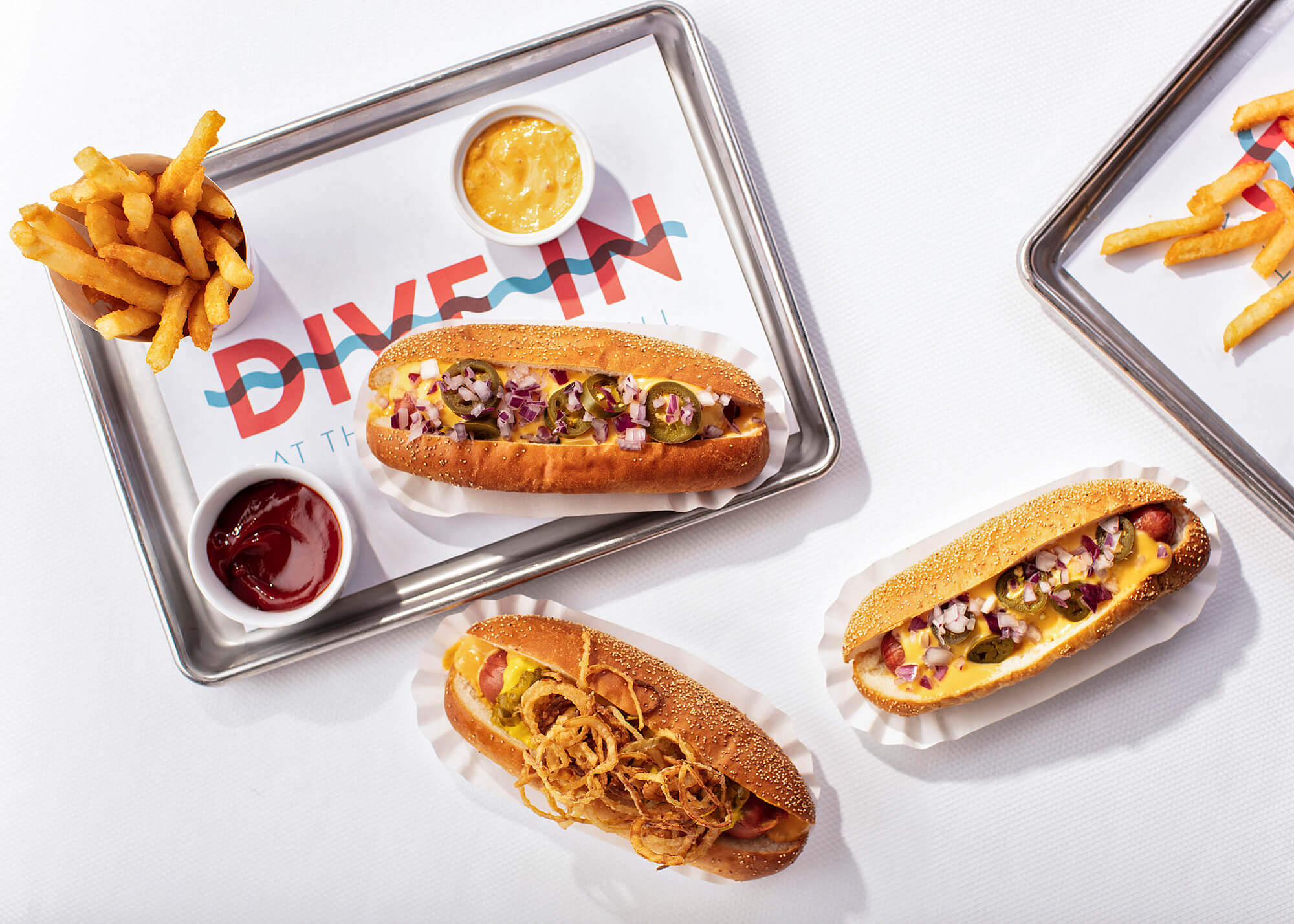 Tray of hot dogs and french fries