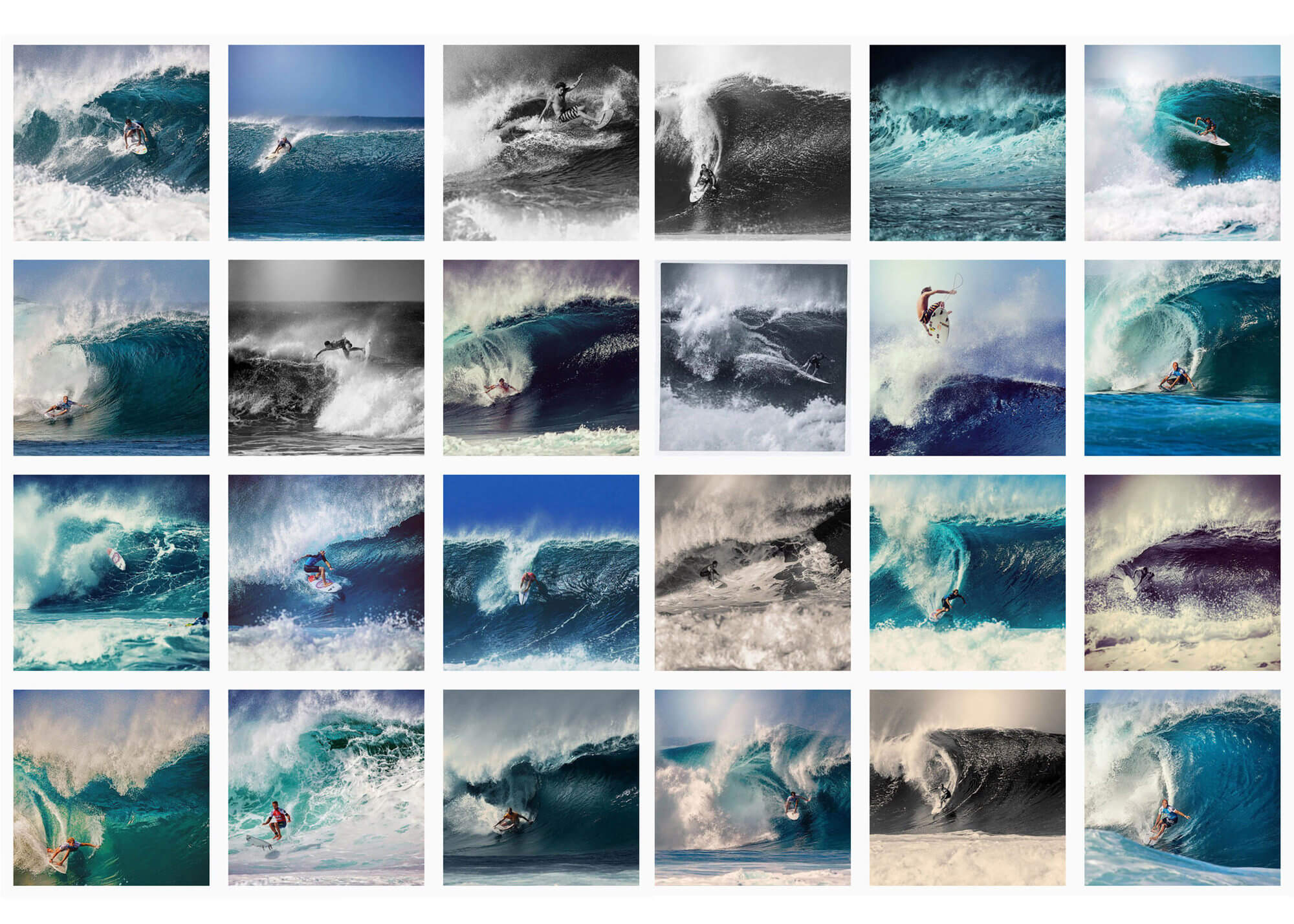 Grid of surf images