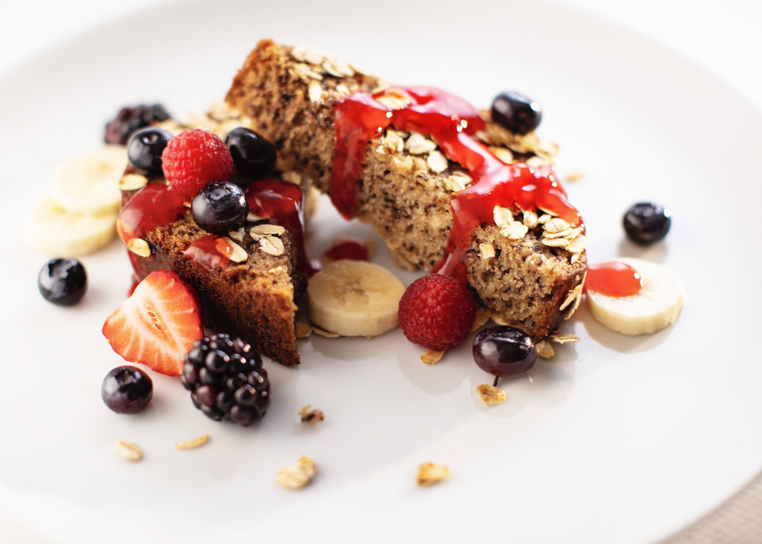 Banana bread French toast with berries