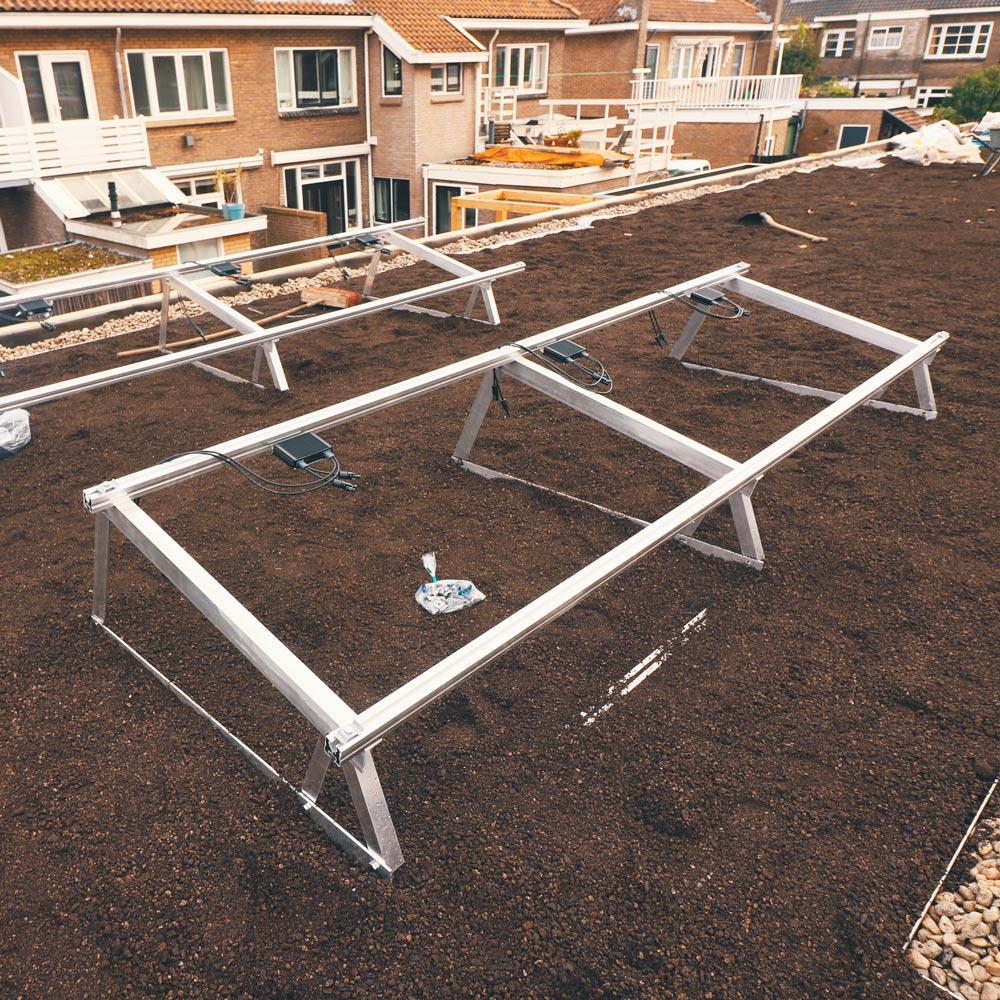 Airfraimes voor een energiedak ontwikkeld door Solar Sedum