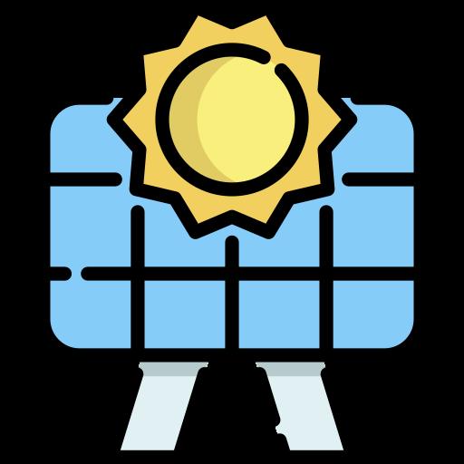 Tekening van een zonnepaneel met een zonnetje erboven